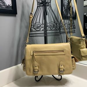 Aurielle Beige Leather Organizer Shoulder Bag